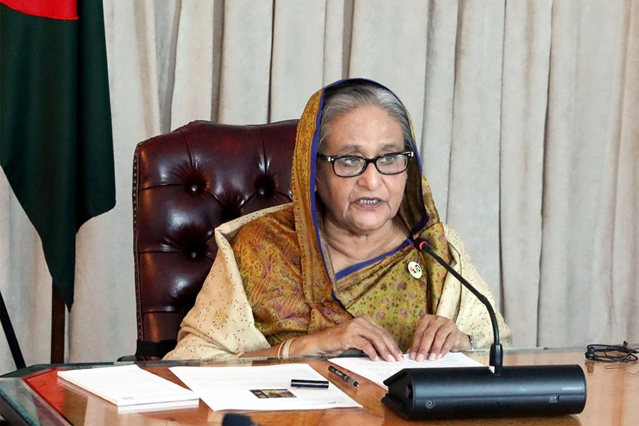"""Prime Minister Sheikh Hasina speaks at a high level event on """"Forcibly displaced Myanmar nationals (Rohingya): Imperatives for a sustainable solution"""", virtually participating from Lotte New York Palace in New York on Wednesday —PID/BSS"""