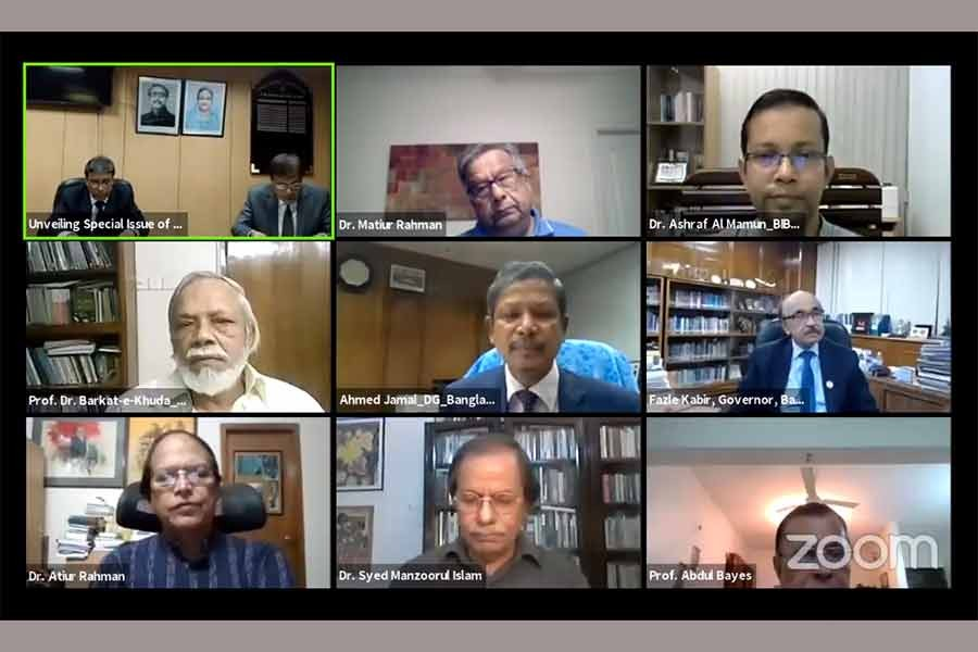 Participants at a virtual programme to unveil a special issue of Bank Parikrama marking the birth centenary of the Father of Nation Bangabandhu Sheikh Mujibur Rahman, organised by Bangladesh Institute of Bank Management (BIBM) on Wednesday evening.